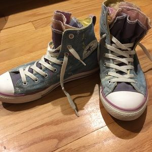 Converse high tops tulle paint splatter size 5